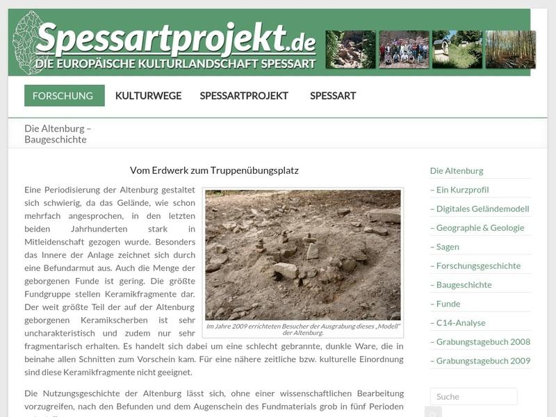 Screenshot von http://www.spessartprojekt.de/forschung/altenburg/index.php